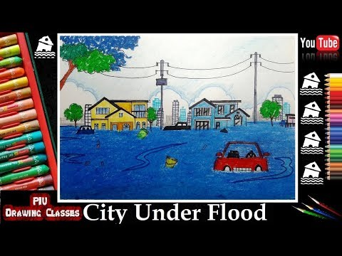 city-under-flood-scenery-drawing---tribute-to-bihar,assam,kerala,mumbai,bangladesh,gujarat,nepal