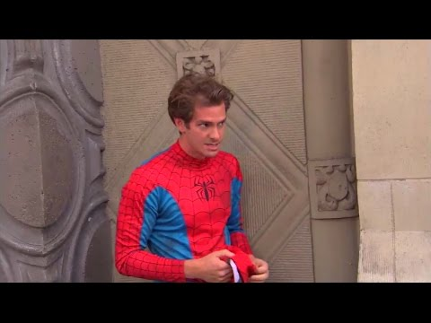 Andrew Garfield dresses up as SpiderMan for a while