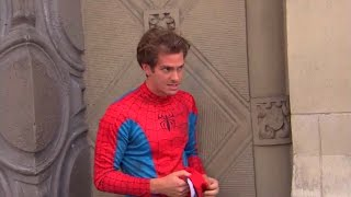 Andrew Garfield dresses up as Spider-Man for a while