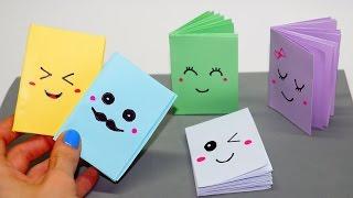 DIY Kawaii notebook of 1 sheet of paper / Mini notebook OF OWN HANDS / Ideas for school / Julia DIY thumbnail
