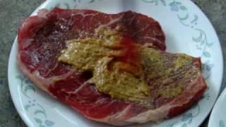 Beef With English Mustard With Potatoes, Asparagus, Cauliflower Puree, Honey Glazed Carrots.