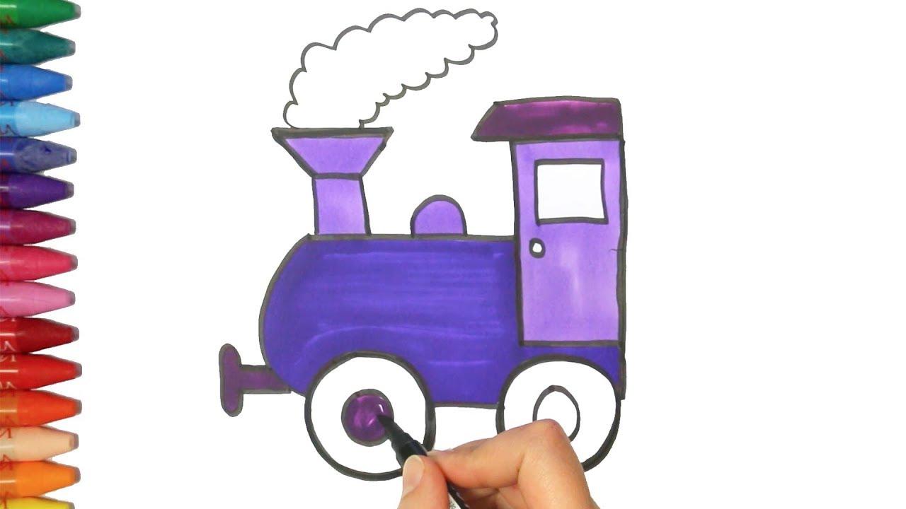 Wie Zeichnet Man Eine Zug Zeichnen Und Ausmalen Für Kinder Youtube