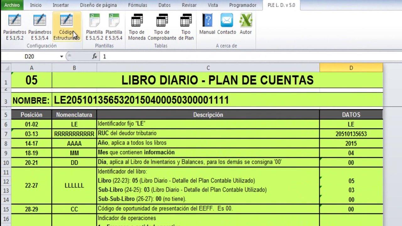 LIBROS ELECTRÓNICOS SUNAT PLE V 5.0 – LIBRO DIARIO - DIARIO ...