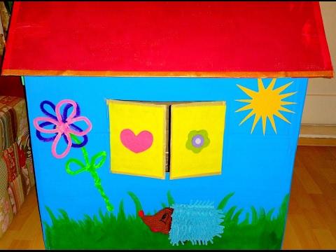 activity cardboard playhouse spielhaus aus karton selber bauen diy youtube. Black Bedroom Furniture Sets. Home Design Ideas