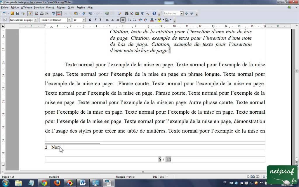 open office writer references en notes de bas de page