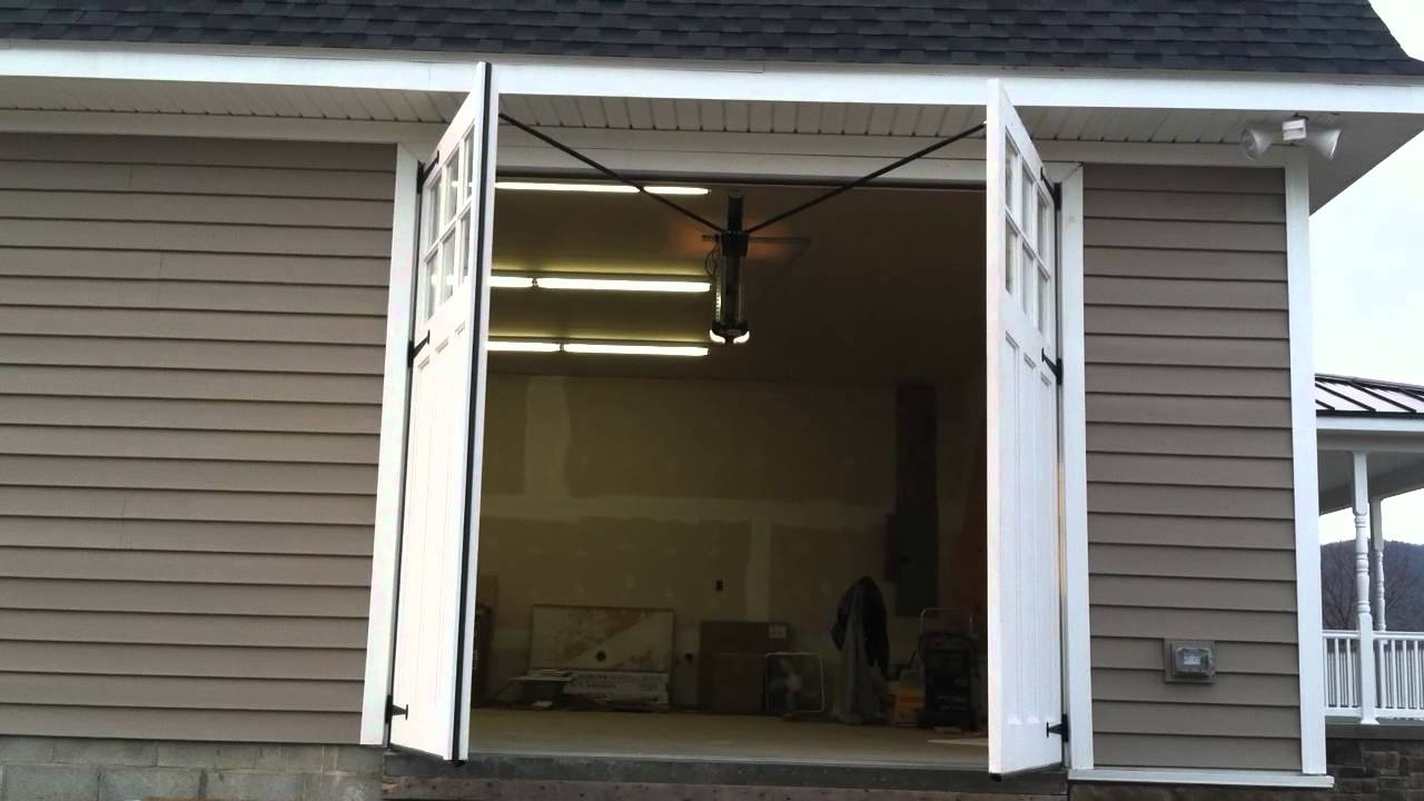 carriage door swing out garage door youtube