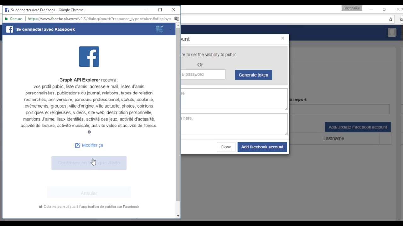 Kingposter | Adding Facebook account using Graph API Explorer