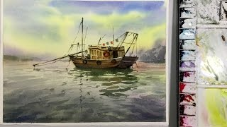 Watercolor Painting Demonstration : Little Boat on the Sea