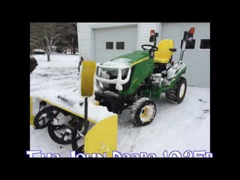 "Snowblowing made easy with John Deere 1025r 54"" attachment"