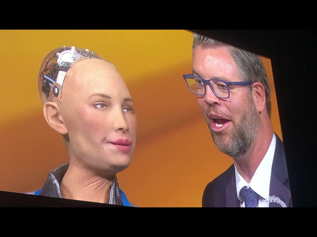 Sophia The Robot Facial Exercises with Jason Hewlett MDRT 2019