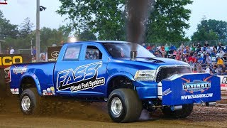 Super Stock Diesel 4wd Trucks pulling at Fort Recovery, OH. 6/2/18