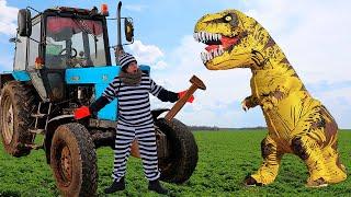 Синий Трактор сломался Ксюша пришла на помощь и поймала динозавра. ШОКОЛАДНОЕ и НАСТОЯЩЕЕ. Челлендж