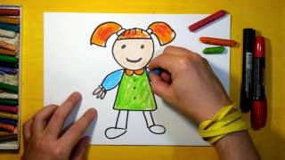 How to draw a doll for children