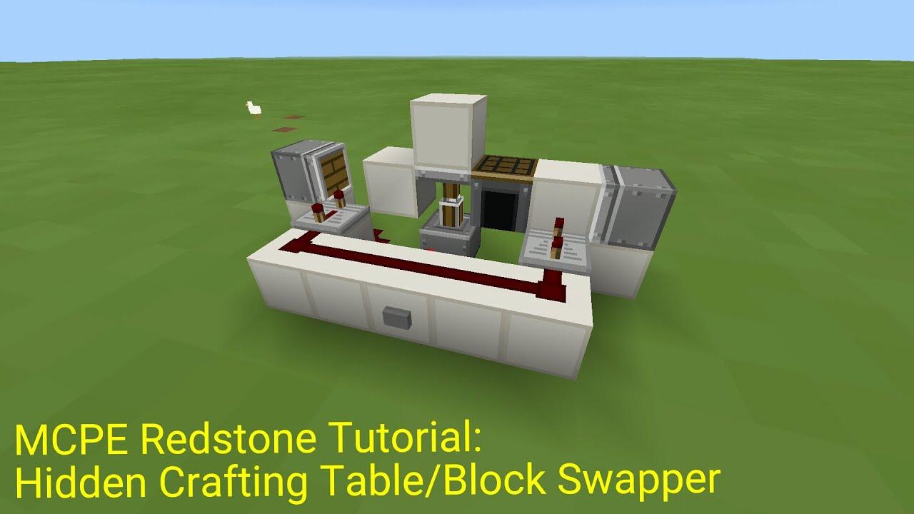 Broken Minecraft Pocket Edition Redstone Tutorial Hidden Crafting Table Block Swer