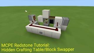 (Broken) Minecraft Pocket Edition Redstone Tutorial: Hidden Crafting Table/Block Swapper