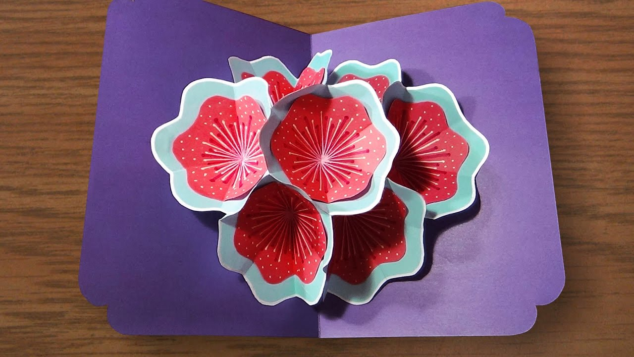 How To Make A 3d Flower Pop UP Card   Very Easy And Simple ...