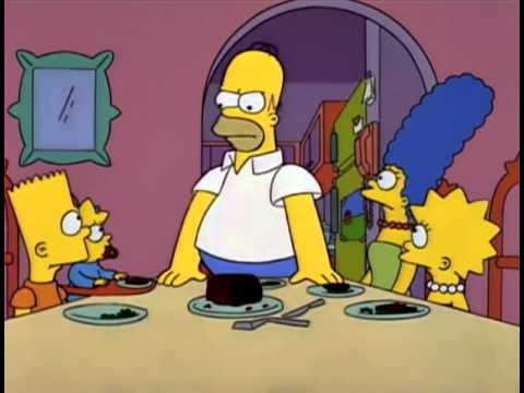 Bart throwing peas at Lisa