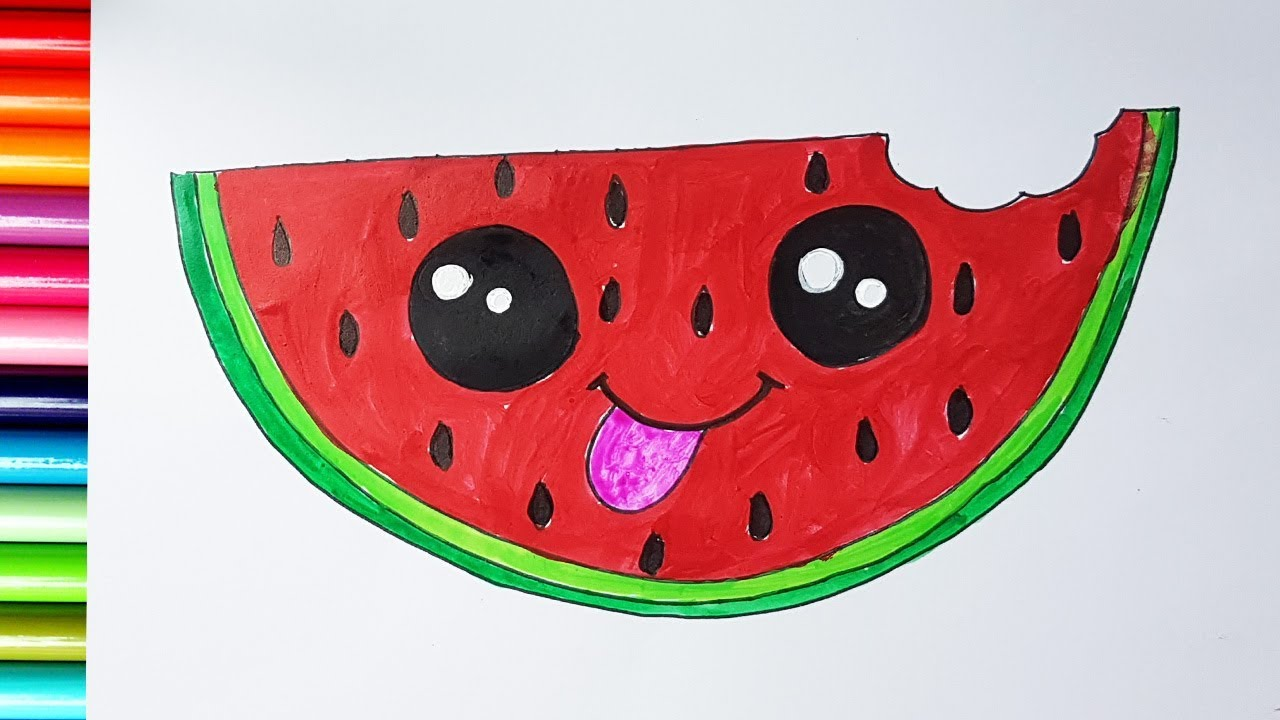 Draw A Cute Watermelon Step By Step How To Draw A Watermelon Slice
