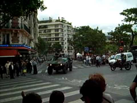 Bastille Day military display in the streets of Paris