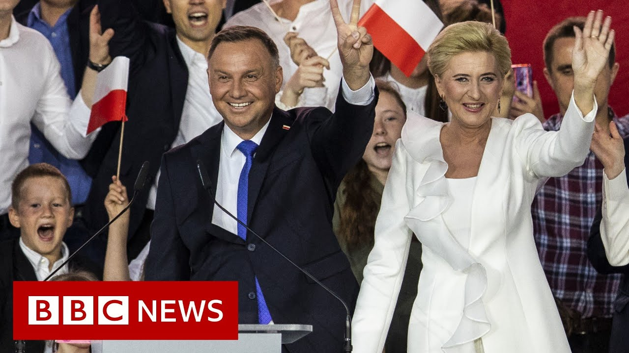 Poland S Conservative President Duda Re Elected Bbc News Youtube