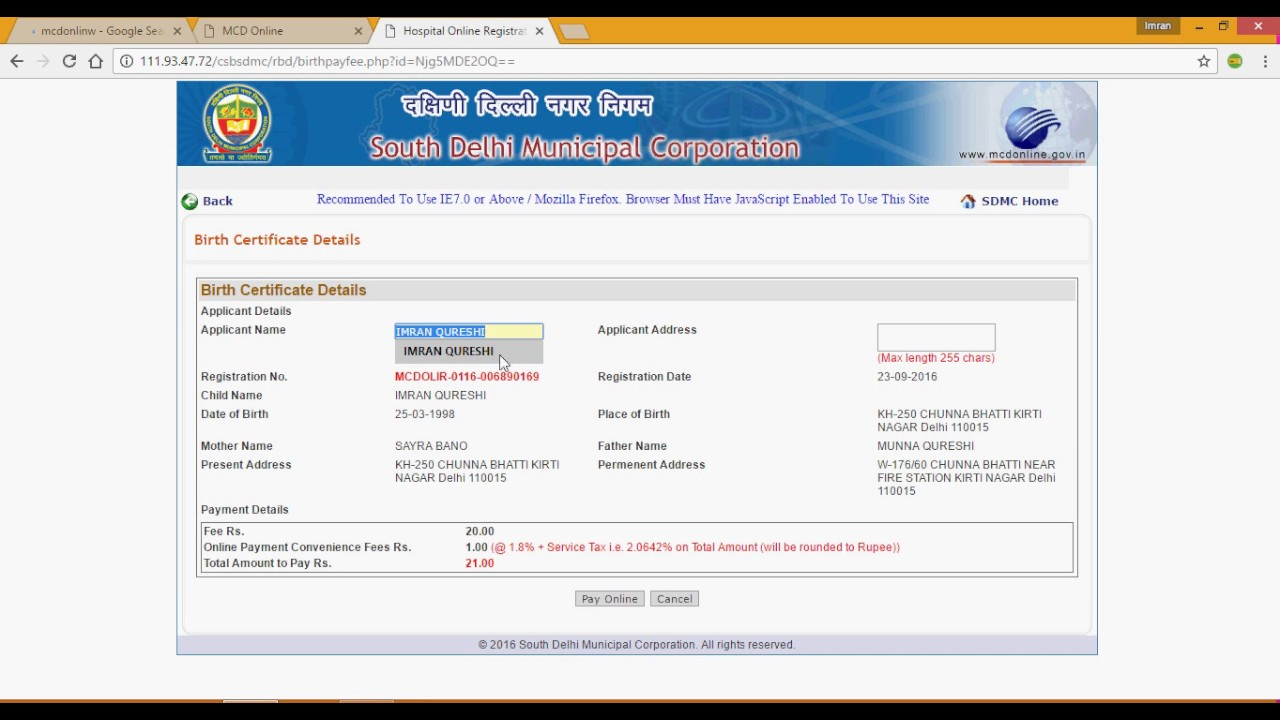 how to download birth certificate online in delhi by MCD - YouTube