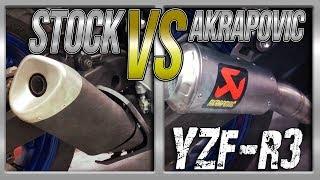 15-17 Yamaha YZF-R3 Stock Exhaust vs Akrapovic Slip-On Exhaust Sound Comparison