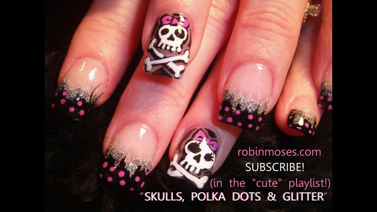 Nail Art Design Tutorial Diy Skulls Bows And Polka Dots Youtube