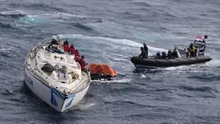 Redding op de Atlantische Oceaan van de veertien opvarenden van de Clyde Challenger