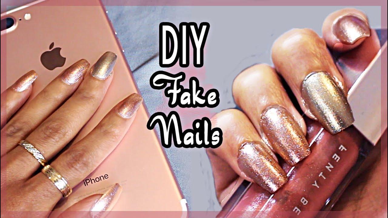 DIY EASY FAKE NAILS⎜ROSE GOLD & CHROME BIH!! (NO ACRYLIC) ♥ - YouTube
