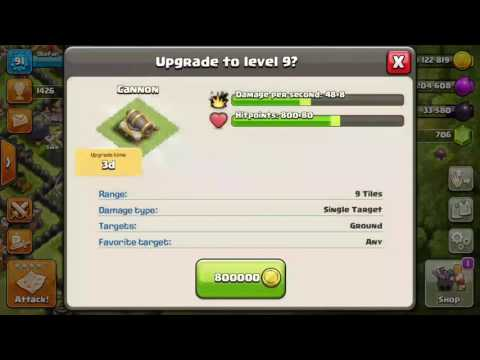 Clash Of Clans - Upg My Cannon To Lvl 9 (TH9)