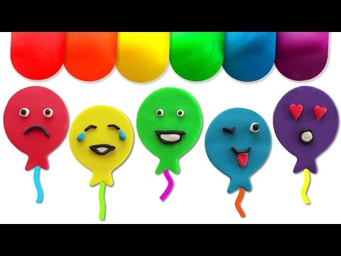 Thumbnail: Learn Colors Cutting Open Play Doh Surprise Eggs with Balloons Smiley Faces Inside