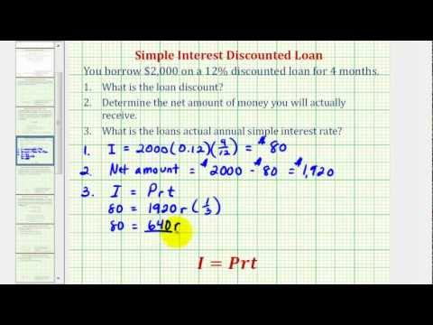 Ex: Simple Interest Discounted Loan