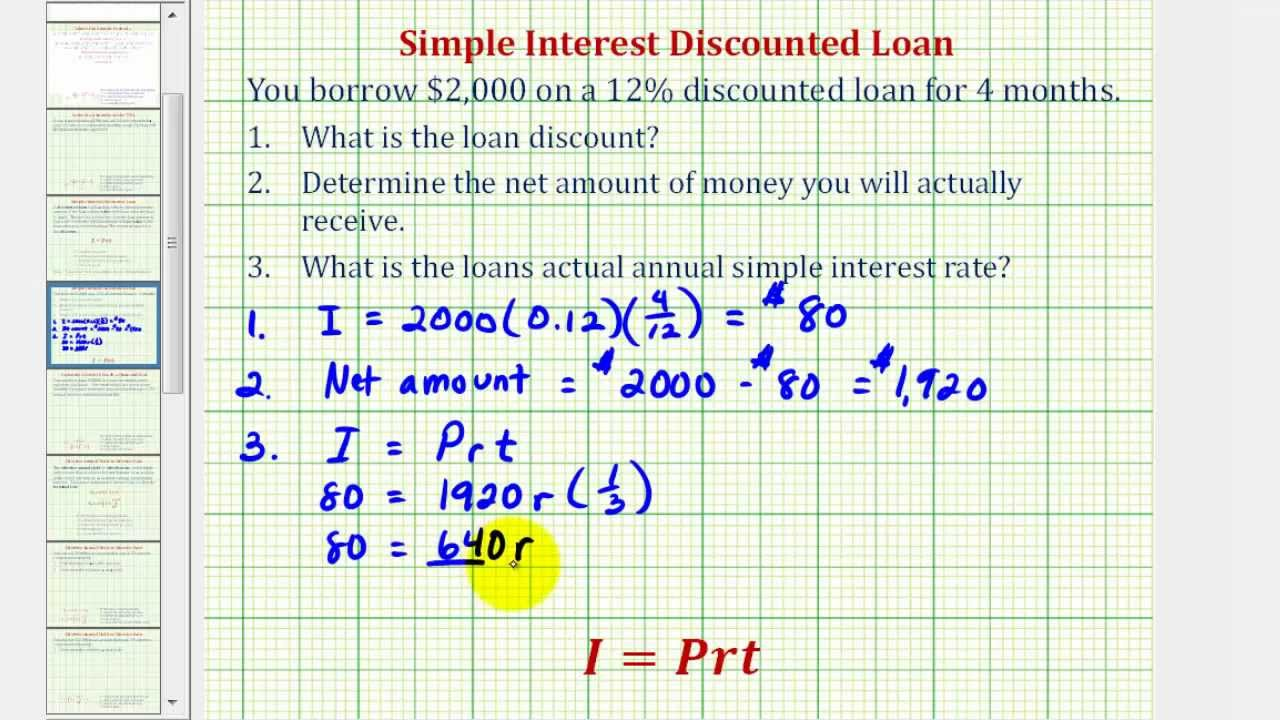 Ex: Simple Interest Discounted Loan - YouTube