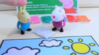 Peppa Pig  Свинка  Пеппа. Видео для детей. Подарок для свинки Пеппы .(Видео для детей с участием игрушек из мултфильма