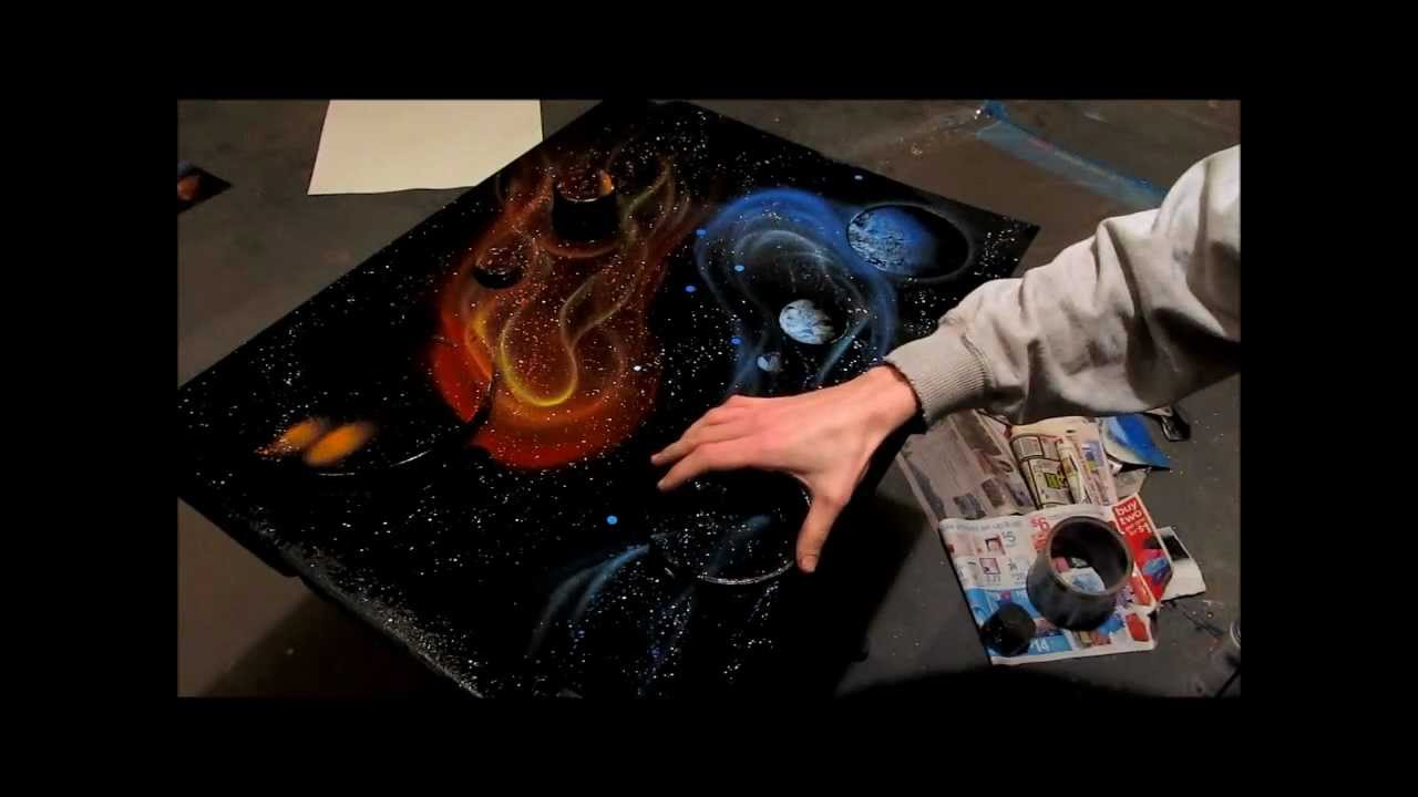 yin yang galaxy spray paint art by ben rabine youtube. Black Bedroom Furniture Sets. Home Design Ideas