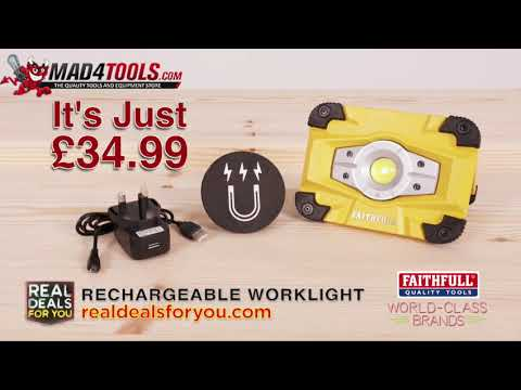Faithfull LED Rechargeable Magnetic Flood Work Light 240v