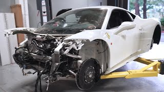 Finding all the damage on my WRECKED Ferrari 458