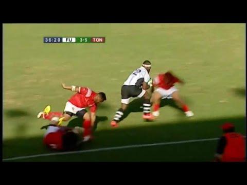 Levani Botia smashes Tongans out the way to create Fiji try