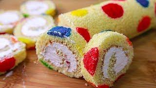 Polka Dot Swiss Roll | Rainbow Polka Dot Swiss Roll Cake | Vanilla Swiss Roll Cake