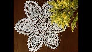 Салфетка с ананасами/Pineapple Centerpiece crochet doily. Вязание крючком для начинающих