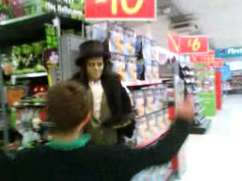 my brother walking up to the halloween man in asdas