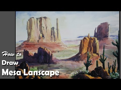How to Draw Mesa landscape, and will paint with Watercolor