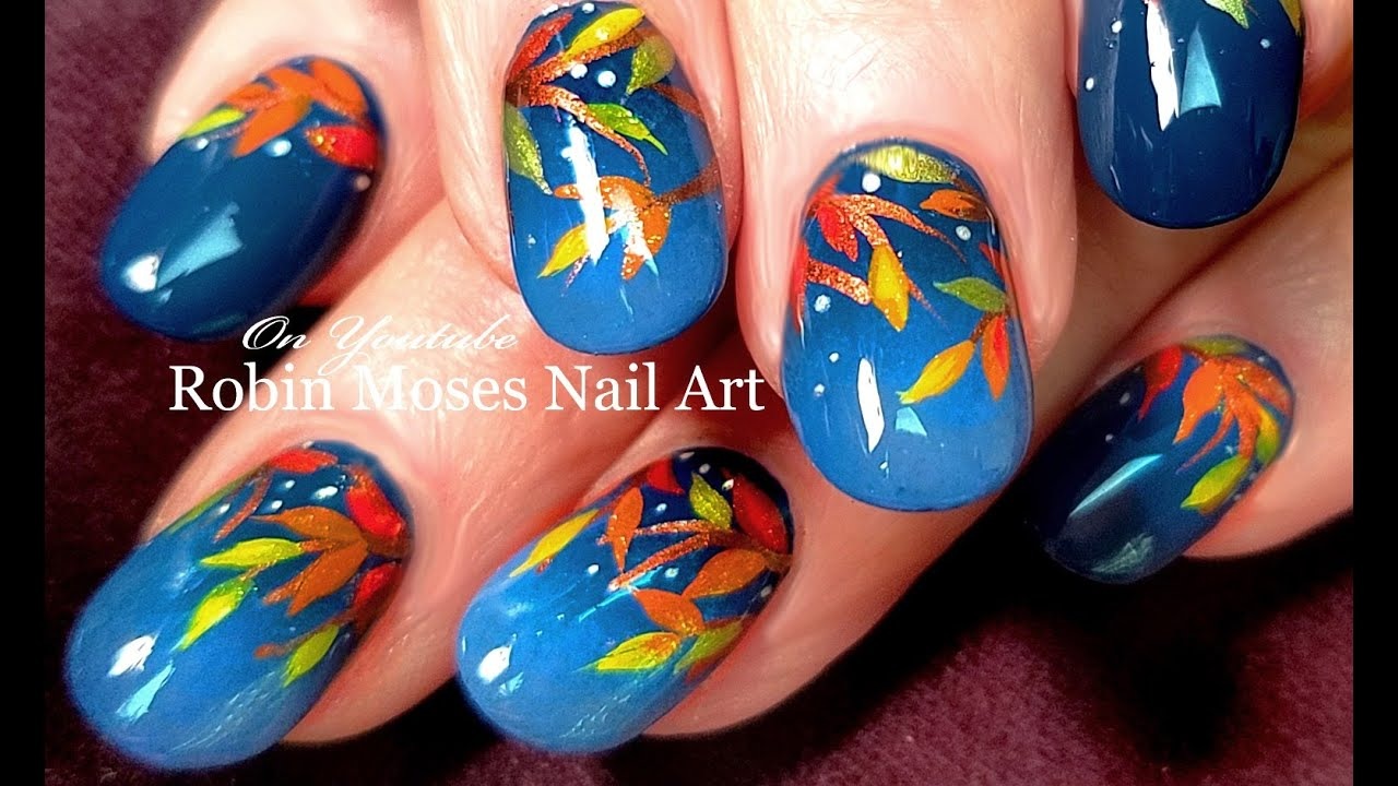 Diy Fall Leaves Nail Art Easy Autumn Nails Design Tutorial Youtube