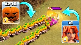 240 PUMPKIN BARBARIANS vs VALKYRIE! - Clash Of Clans