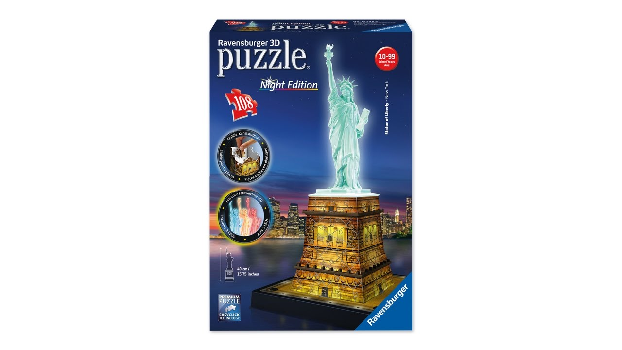 4be412e17 3D Puzzles – Statue of Liberty at Night by Ravensburger - YouTube