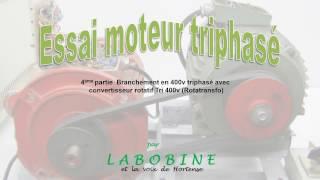 Essai moteur triphasé, 4ème partie, branché en 400v avec rotatransfo 230v monophasé
