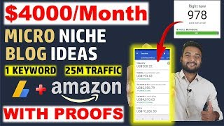 Earn $4000/Month From MICRO NICHE BLOGGING WEBSITE TOPICS/IDEAS & Case Study