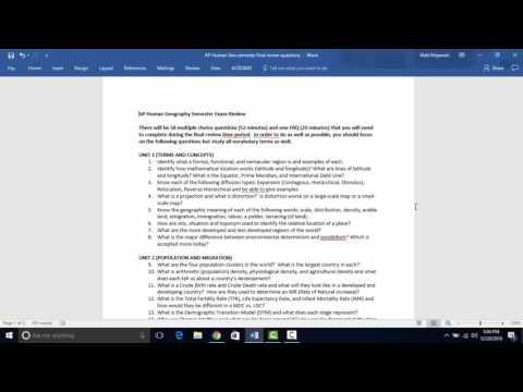 AP Human Semester Final Review