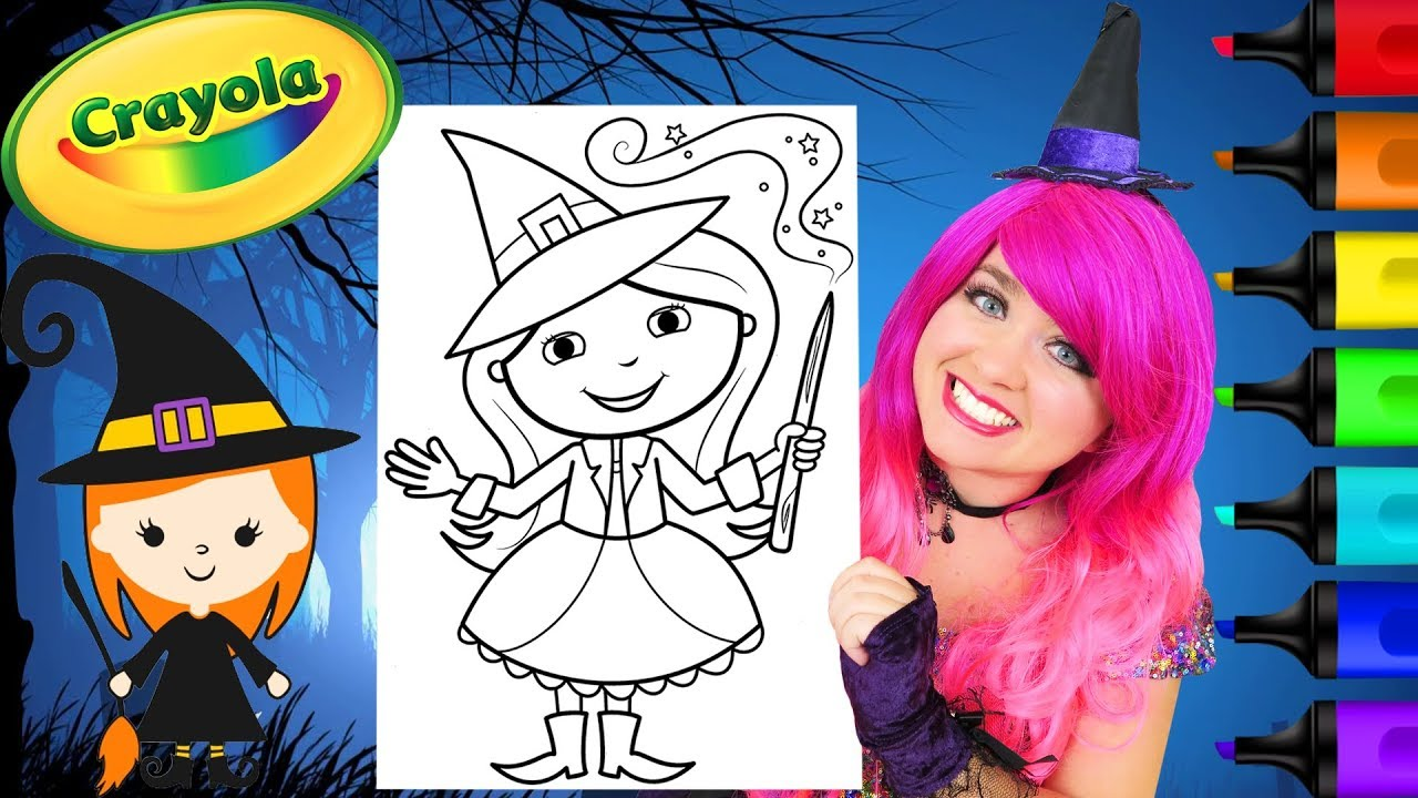 Coloring Cute Witch Halloween Crayola Coloring Page Prismacolor Markers |  KiMMi THE CLOWN - YoutubeDownload.pro