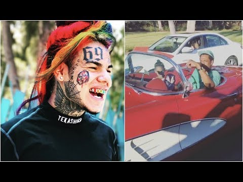 6ix9ine And Crew Run Into Jay Z And Blue Ivy Drving Drop Top In Hollywood